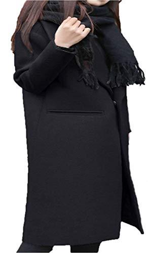 Veste Épaisseur Décontracté Schwarz Manteau Revers Warm Femme Unie De Haute Manches Branché Coat Laine Hiver Outwear Mode Couleur Chic Manteaux Elégante Longues Battercake Qualité ORwYSqO