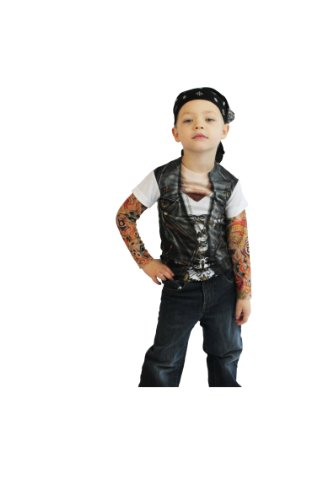 [Toddler Biker Tattoo Costume Shirt] (Biker Kid Costume)