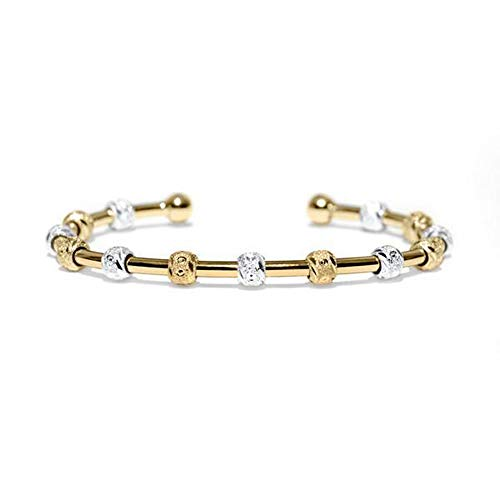 (Golf Goddess Stroke/Score Counter Bracelet - Two Tone Gold and Silver with Gold Cuff)