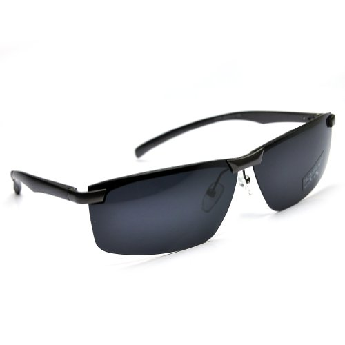PenSee Mens Fashion Rectangular Polarized Sunglasses Metal Frame