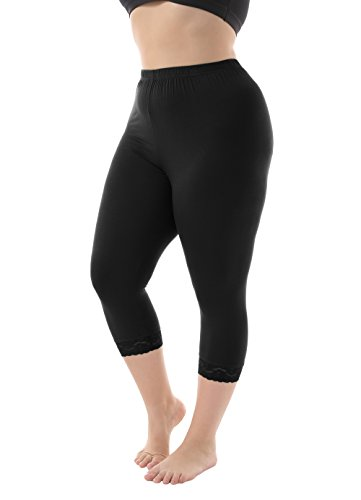 Lace Opaque Black - Zerdocean Women's Plus Size Modal Capri Leggings Hem Lace Trim Black 1X