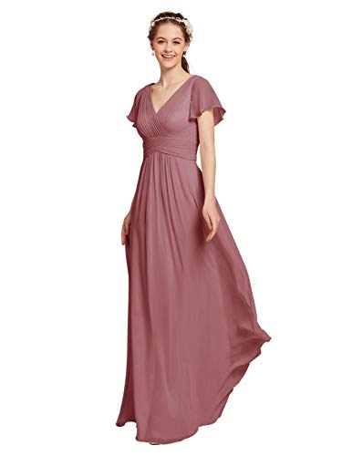 (AW Chiffon Bridesmaid Dress with Sleeves V-Neck Wedding Maxi Evening Party Dress Long Prom Gowns, Dusty Rose, US6)