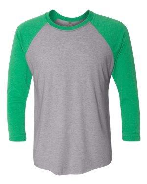 (Next Level Women's Rib Collar 3/4 Sleeve T-Shirt, Envy/ Premium Heather, X-Large)