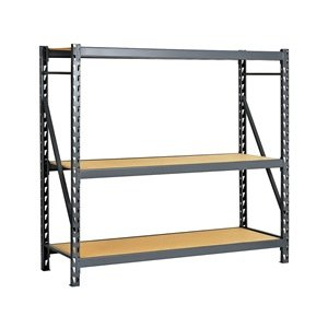 "Edsal ERP962472S E-RACK Bulk Storage Rack with Particle Board Decking, Starter Type, 3 Shelves, 1800 lb. Capacity, 96"" W x 24"" D x 72"" H, Industrial Gray"