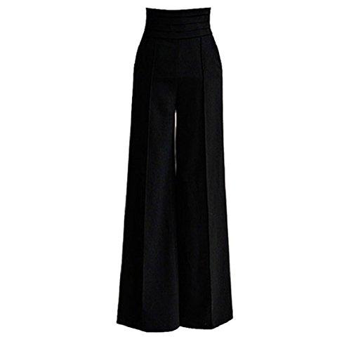 Sandistore Europe Style Women High Waist Wide Leg Trousers S