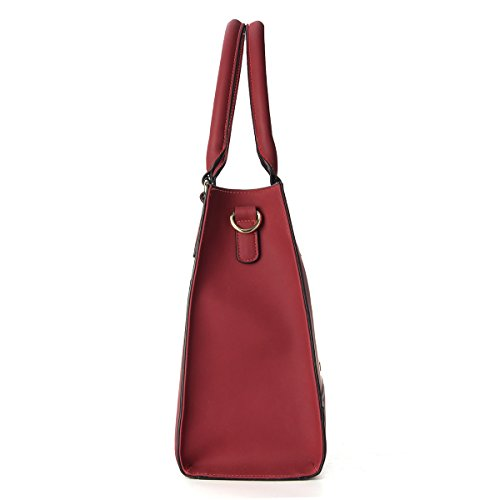Satchel Shoulder Top Tote Bags Leather Women Fashion PU Kadell Messenger Handle Large Wine Handbags Red wqvxPYnT