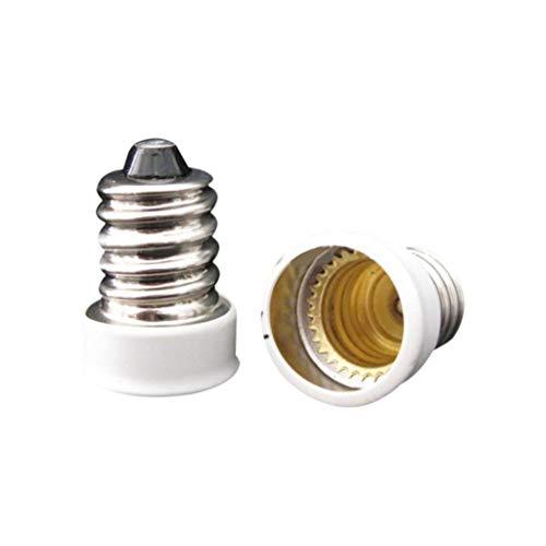 2Pcs E14 To E12 Adapter Converter Lamp Holder Base Socket For E14 LED Light Bulb ()