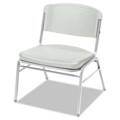 Rough N Ready Series Big & Tall Stackable Chair, Platinum/Silver, 4/Carton, Sold as 1 Carton
