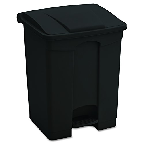 Safco Products Plastic Step-On Trash Can 9922BL, Black, Hands-free Disposal, 17-Gallon Capacity