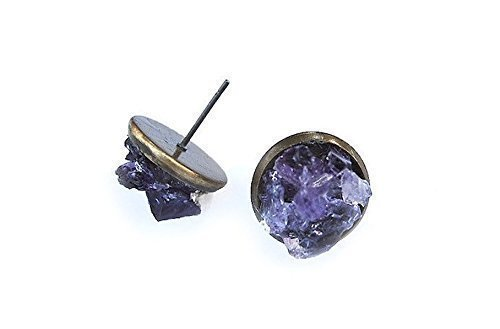 post gemstone earrings at sterling amethyst silver handmade full stud