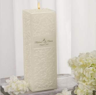 Ivy Lane Design Wedding Accessories Embossed Square Pillar Unity Candle, Ivory ()