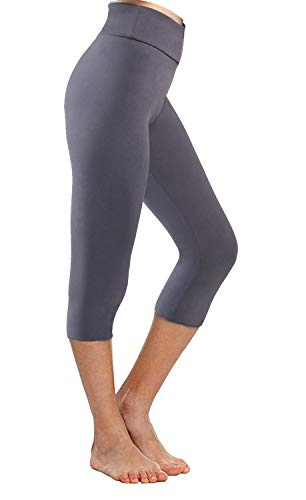 Buttery Soft Leggings for Women-Regular and Plus Size Leggings w Hidden Inner Pocket-Full Length, Soild Color (Plus Size(XL-3XL), Gray-Capri)