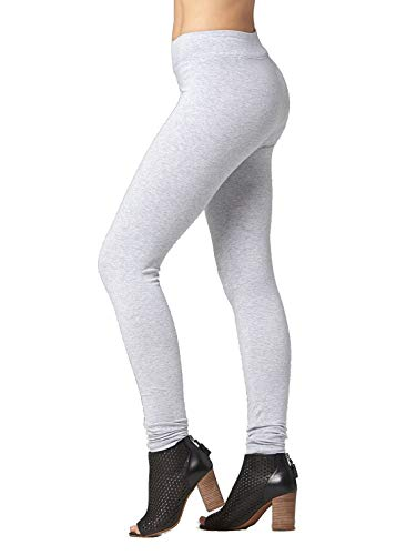 Premium Cotton Spandex Jersey Leggings - High Waist Yoga Waistband - 10 Colors - 6 Sizes (Heather Grey, 3XL)
