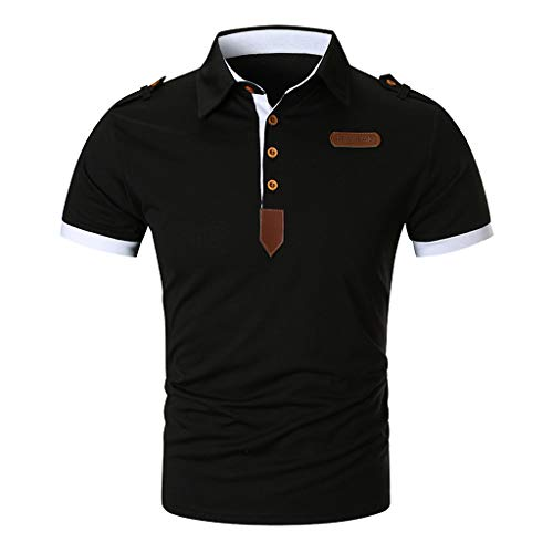 (Rakkiss_Men Shirts Solid Slim Patchwork Tops Casual Personality Standing Collar Blouse Short Sleeve Summer Clothes Black)
