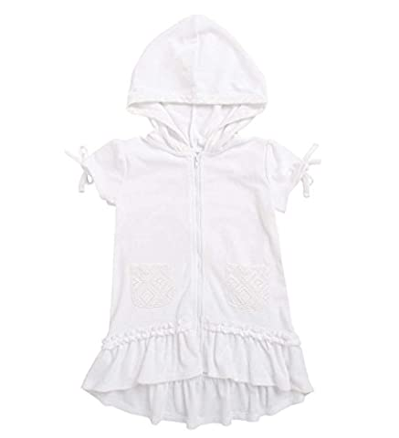 CWDKids High-Low Hooded Zip Cover-Up in White Size 3T - White Terry Hooded Cover Up