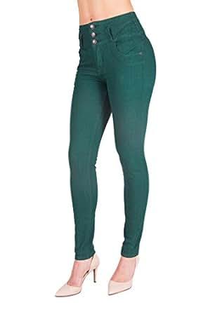 Arco Iris Women's Skinny High Waist Butt Lifter Denim Jeans Dark Green Junior Size 1