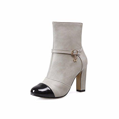 El otoño y el invierno de color de tamaño de los zapatos de tacón alto botas botas Gray