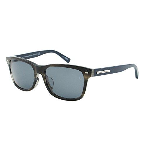 Ermenegildo Zegna Italy EZ0001 F 64V Men Rectangular Havana Gray Wayfarer - Logo Sunglasses F