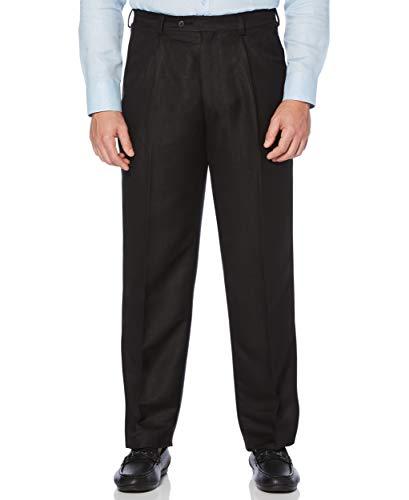 Cubavera Linen Blend Herringbone Textured Men's Dress Pant, Jet Black, 32x32
