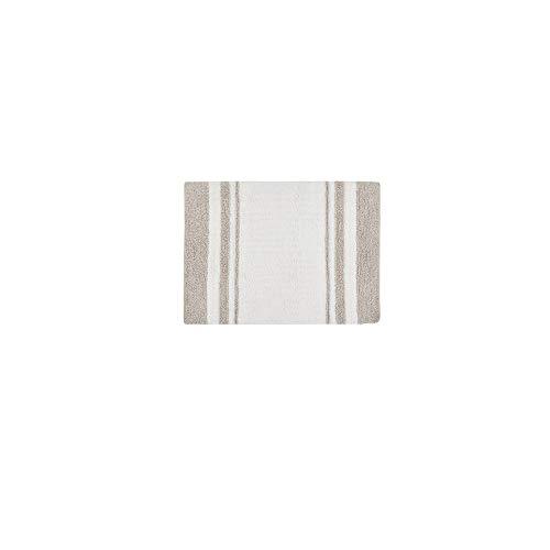 MISC Taupe Reversible Bath Mat Rectangle, White Stripe Plush Bathroom Runner Reversible Carpet, Luxurious Spa Vanity Tub Shower Stall Washroom Rug Vertical Stripes Brown Beige Tan, 20x30 Cotton