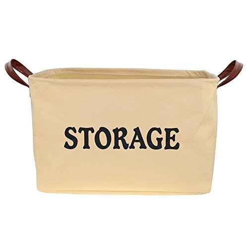 SHINYTIME Ideal Canvas Storage Basket Bins Large Organizer Toy Laundry Storage Baskets for Kids Pets Home Living Room Closet 17x13x10 (Khaki-1pcs)