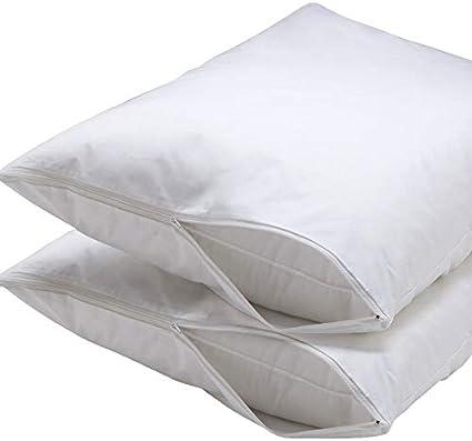 Ultra Soft Allergy Hypoallergenic 100/% Waterproof Zipper Pillow Protector Encasement Bed Bug /& Dust-mite 2 King Size