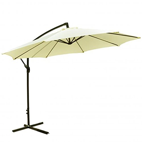 MR Direct Patio Umbrella Offset 10' Hanging Umbrella Outdoor Market Umbrella D10 (Beige)