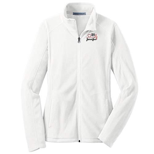 Lane Weston Personalized RN Nurse Full Zip Microfleece Jacket with Pockets (Medium, White)