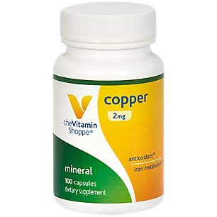 The Vitamin Shoppe Copper 2MG (Copper Gluconate), Antioxidant for Iron Metabolism, Once Daily Essential Mineral Supplement (100 Capsules)