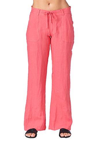 Mariyaab Women's Button Closure Wide Leg 100% linen pants with drawstring waist (004, ParadisePink, 14) -