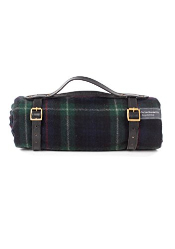 (The Tartan Blanket Co. Recycled Wool Picnic Blanket with Black Leather Strap (Mackenzie))