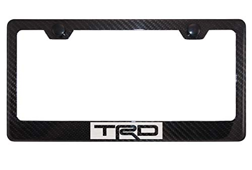 TRD Gloss Black Carbon Fiber License Plate Frame with Cap