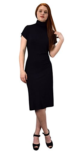 Peach Couture Turtle neck Short Sleeve Midi Dress Black Small