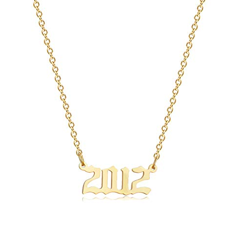 18K Gold Plated Stainless Steel Year Necklace Birthday Year Number Necklace Anniversary Memorable Jewelry for Women Girls