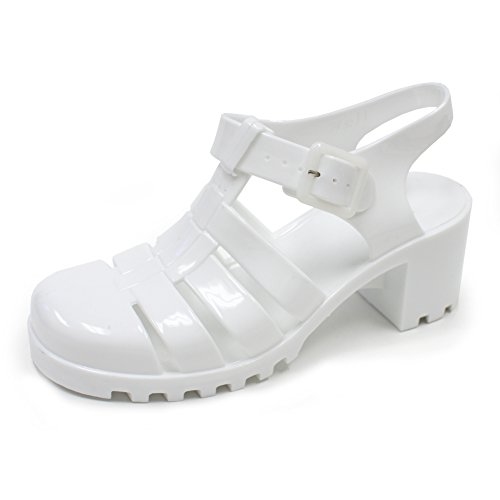 SNJ Trends Women's Summer Waterproof Jelly Flat Low T-Strap Gladiator Sandals Slip-On Slide Heeled Flop-Flops Wedge Shoes With Adjustable Strap, White Size 8 M [US Size]