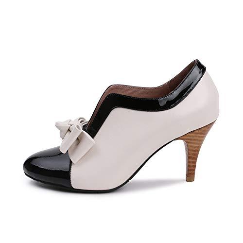 Talon Slim Hauteur Talon 7 Chaussures Femmes D'arc Noeud L'usure Bottes White À Antidérapant Bottillons Tête Ronde Résistant Nues Simples Du PU Haut 5Cm T6T7fw