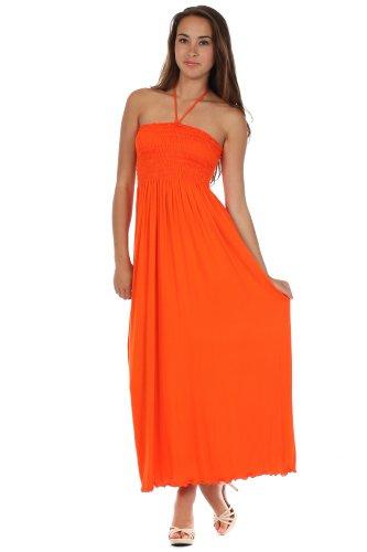 Halter Bodice Dress (Sakkas 5026 Comfortable Jersey Feel Solid Color Smocked Bodice String Halter Maxi / Long Dress - Orange / Large)