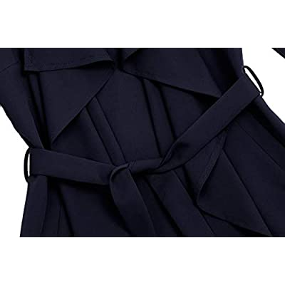 UAUNG Women's Trench Cardigan Casual Waterfall Collar Pockets Wrap Sleeveless Vest w/Belt at Women's Clothing store