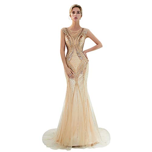 2b06300d15 Home Brands HSLS Dresses HSLS Women s Cocktail Dress Long Beaded Tulle Prom  Dress Elegant Gold Mermaid Evening Dress Vestido De Noite.   