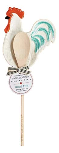 Two's Company Rooster Chicken Spoon Rest with Wooden Spoon (My Roost, My Rules Spoon) (Best Roost For Chickens)