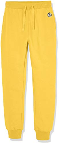 (Kid Nation Kids' Soft Brushed Fleece Casual Pull-On Jogger Sweatpant with Pockets for Boys or Girls S Yellow)