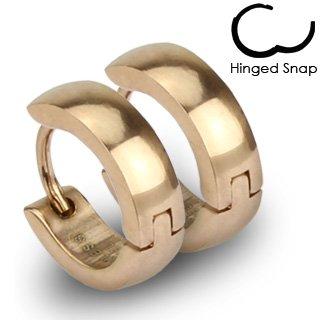 SER-0005 Pair of 316L Stainless Steel Rose Gold IP Huggie Hoop Earrings; Comes With Free Gift Box