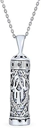 2 inch Sterling Silver Mezuzah Pendant w//no Parchment