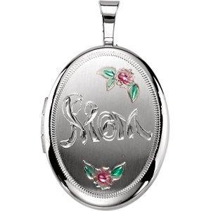 Médaillon ovale en argent sterling 925MOM avec couleur