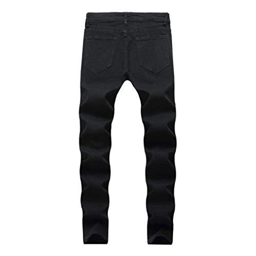 Skinny Nero Ssig Jeans Uomo Distressed Slim Pantaloni Demin Chiusura Workwear Biker Estivi Fashion Giovane a6YOaSwHqx