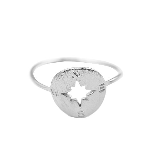Spinningdaisy Handmade Brushed Metal Never Lost Compass Ring Silver