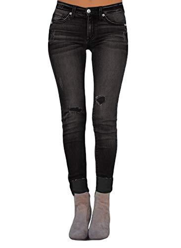 BLENCOT Womens Ladies Fashion Basic Roll up Distressed Slim Fit Ripped Skinny Stretch Jeans Black ()