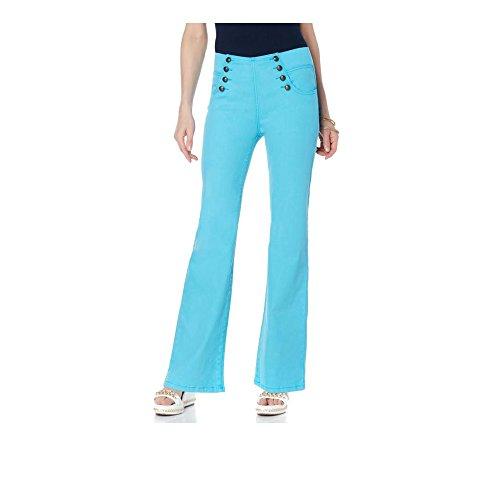 Diane Gilman DG2 Classic Sailor Flare-Leg Stretch Denim Jean (2X Plus Petite, Aqua) ()