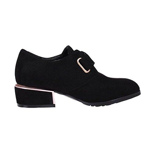 ENMAYER Frauen Nubuck Material Low Heels Gürtelschnalle Spitz Zehe Casual Fashion Schuhe Schwarz