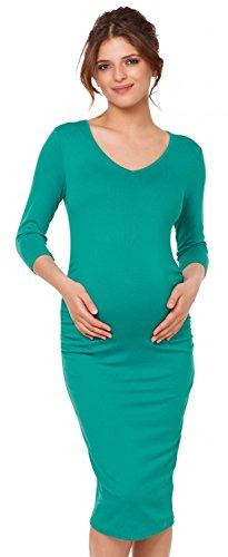 Happy Mama. Para mujer vestido ajustado premamá mangas 3/4 escote de pico. 811p Verde Azulado